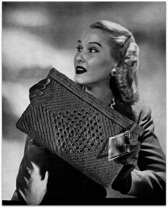 Retro Handbags, Purses, Wallets, Bags Handbag Purse - 1940s Vintage Crochet Pattern Digitally Restored PDF - Suit Strategy Bag - Instant Download $2.54 AT vintagedancer.com