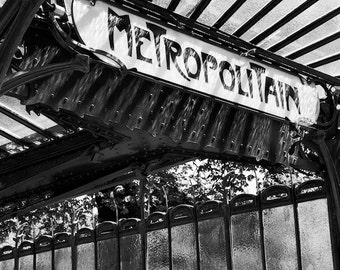 Paris black and white photography, Paris metro sign, art nouveau, Paris photography, Paris print, black and white photography, Paris decor