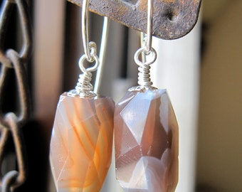 Botswana Agate Earrings on Sterling Silver Hammered Earwires