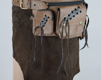 Steampunk Hip bag, Festival utility belt, Belt bag with pockets (good for iPhone 5, 5s, 6, 6s, SE, 7, 7s, 8 and more) - Faun (0013)