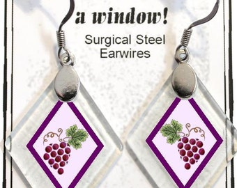 "Earrings ""Grapes"" from rescued, repurposed window glass~Lightening landfills one tiny glass diamond at a time!"