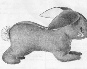 Sewing Patterns, Bunny Pattern, Bunny, Rabbit, Bunny Rabbit, Easter, Vintage Toy Pattern, Felt Toy Pattern, 1950's, Digital Download