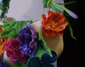 Felted wool bag-Felted wool Purse-Felted handbag -butterflies-Felted Bag-Art Handbag-white