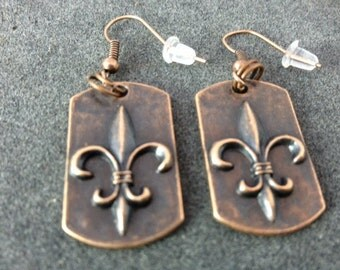 "Copper Colored ""Dog Tag"" Style Fleur de lis Earrings"