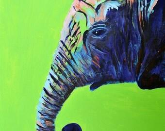 Zuri-Green Elephant Fine Art Print