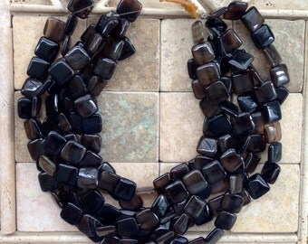 Reduced square brown agate beads