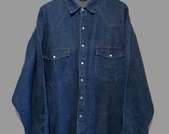 Vintage Long Sleeve Dark Denim Shirt (L/XL) OO5