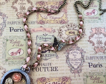Shabby Chic Pocket Watch Necklace