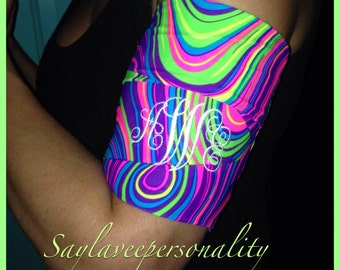 Cell phone armband for jogging stretch bright neon pattern armband to hold your phone, keys and music. With custom monogram