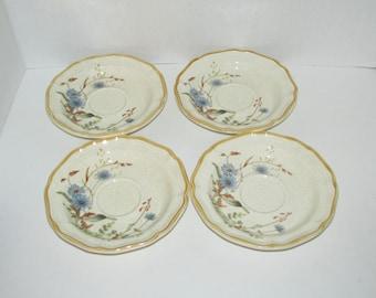 Vintage RETIRED Mikasa BLUE DAISIES Set of 4 Saucers Plates