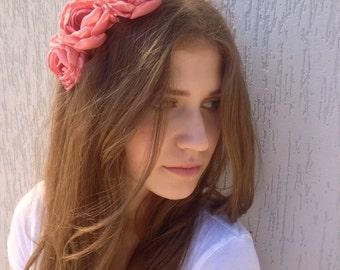 Coral flower hair band Girl headband Wedding accessory Bridal head piece coral