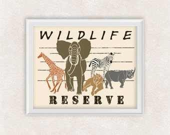 Safari Art Print of a Zebra, Giraffe, Elephant, Lion, and Rhino - 8x10 - Wildlife Reserve - Animal Art - Item #527