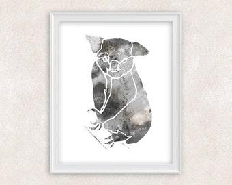Koala Bear Art Watercolor Print - Animal Art - Home Decor 8x10 PRINT - Item #724A