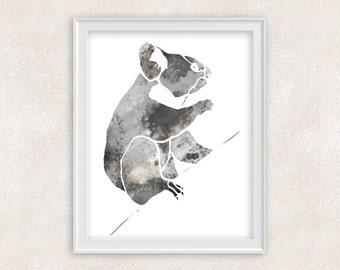 Koala Art - Animal Watercolor Print - Bear Print - Home Decor 8x10 PRINT - Item #725A