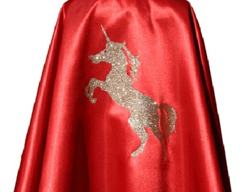 Red Cape and Unicorn gold, rhinestone and satin - Picanoc star
