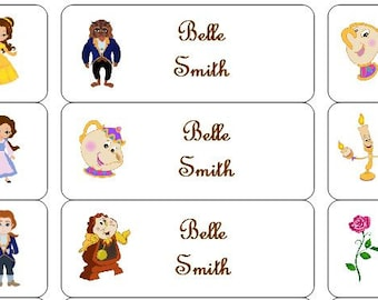 30 Personalized Waterproof Name Labels Disney Beauty And The Beast Stickers Belle Potts Lumiere