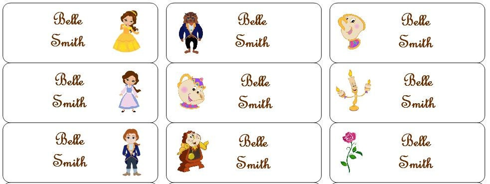 30 Personalized Waterproof Name Labels Disney Beauty And The Beast