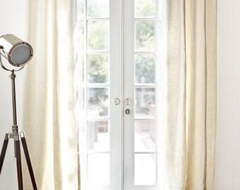 Belgian Sheer Linen Off White Window Panels Linen Curtains