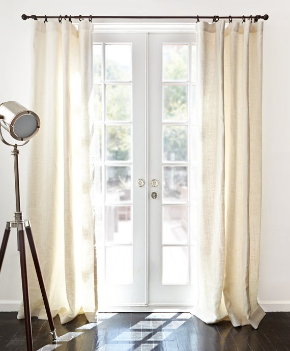 Beige And White Striped Curtains