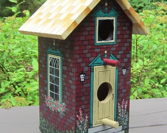 Hand painted decorative birdhouse in fine detail, One of a Kind