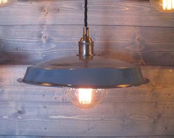 Grey Vinyl Record Pendant Light - Reused Plastic Industrial Ceiling Lamp