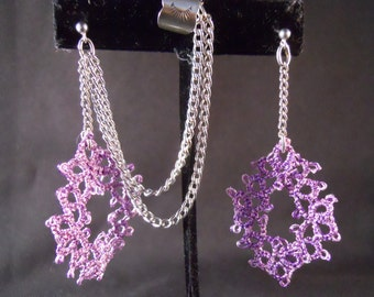 Lavender Tatted Medallions with Silver Chain, Studs and Ear cuff  Drop Earrings