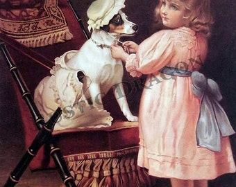 "Charles Burton Barber ""Dress Up""  Reproduction Digital Print  Dog Girl"