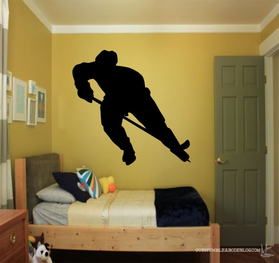 Hockey Player wall decal - sports decals, hockey wall decal, hockey decor, silhouette decal, boys room decor