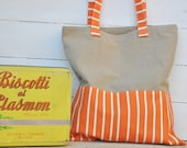 Tote Bag Tangerine (basic canvas shopper with orange and white stripes)