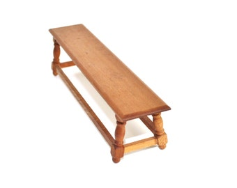 Vintage Miniature Furniture Wood Long Bench Dollhouse 1:12 scale