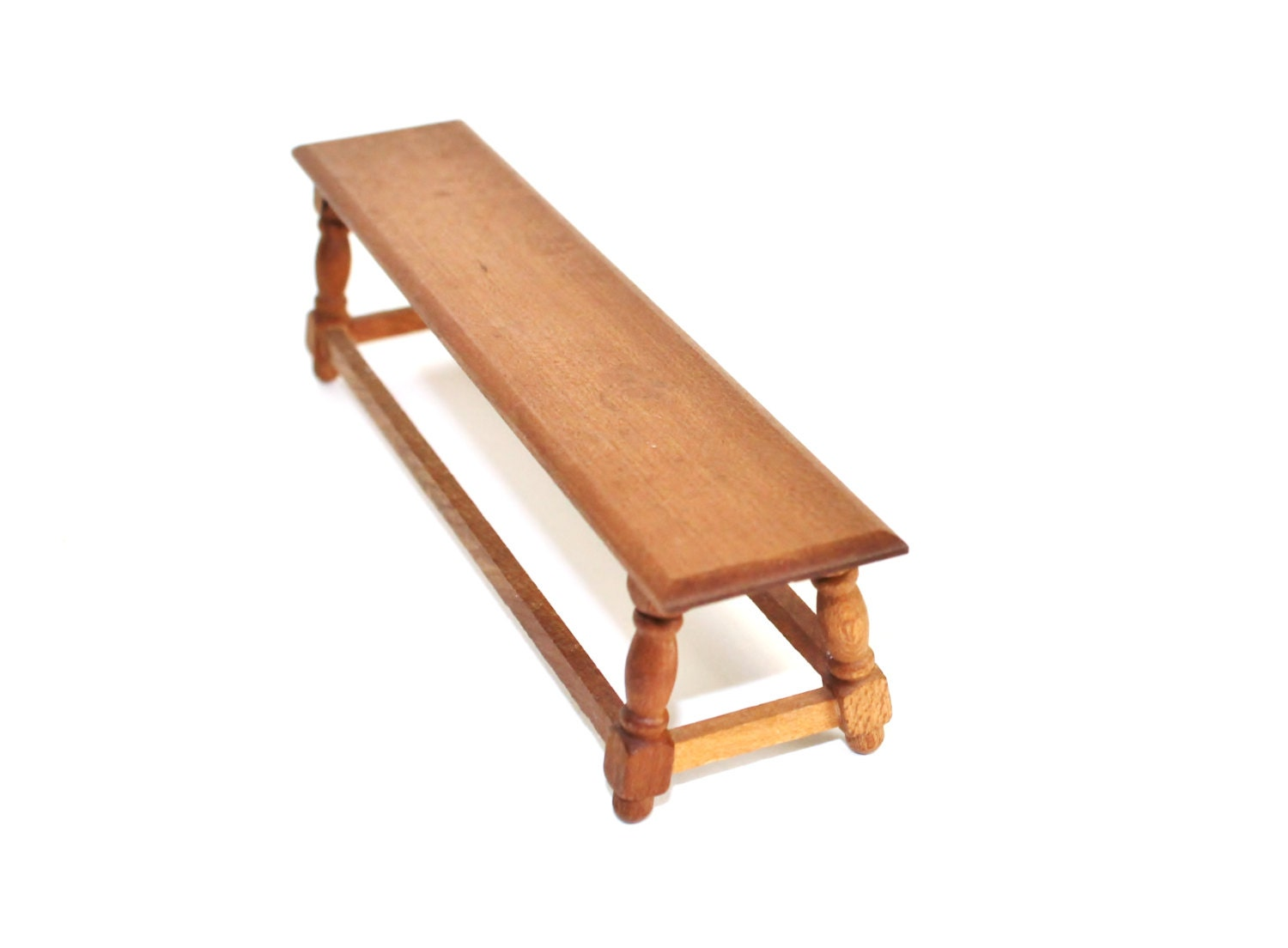 Vintage Miniature Furniture Wood Long Bench Dollhouse 1 12