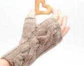 Knit fingerless glove Ginger  - cable knit organic wool fingerless gloves handmade