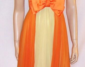 1960's Pale Yellow & Orange Silk Chiffon Evening Gown