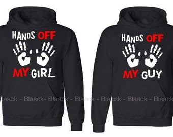 Couple Hoodie - Hands Off My Guy & My Girl - 2 Couple Hodies -  Matching Love Hoodie
