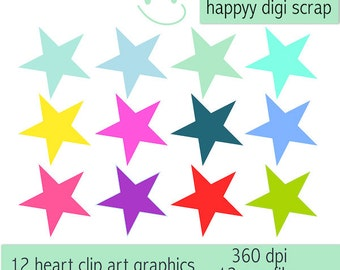 12 digital star clip art png files - instant download - commercial use allowed - scrapbooking - all occasion stars - happily colored