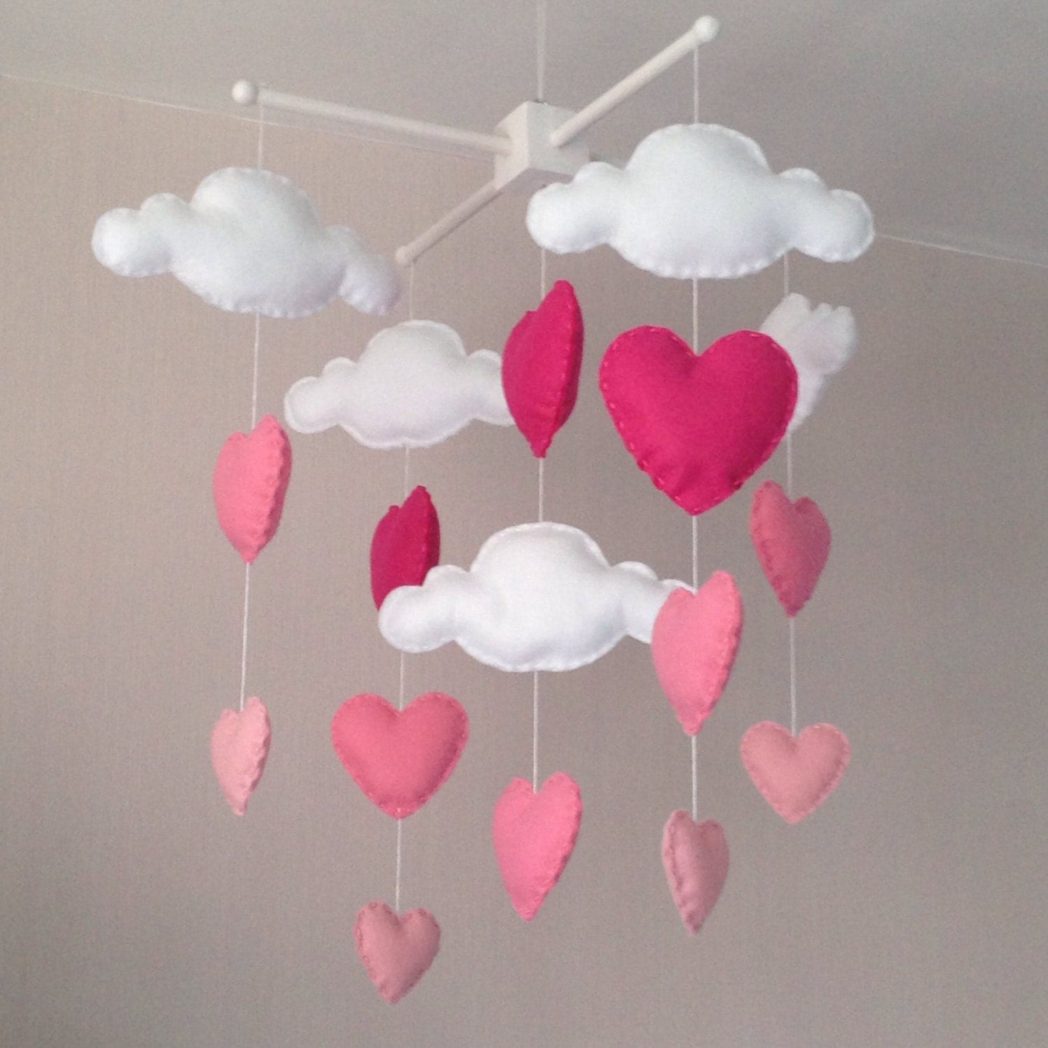 Baby mobile cot mobile clouds and hearts cloud mobile for Baby mobile pink and grey