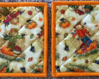 Quilted Autumn/Fall Handmade Potholders, set of two, (SALE)