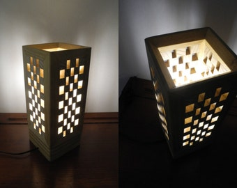 Lamp made of cedar and acacia wood
