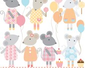 Mouse balloons cupcakes lollipops  peach yellow, pink and blue digital clipart