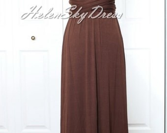 Convertible Infinity Full length Cocoa Bridesmaids Dress in Dark Brown chocolate