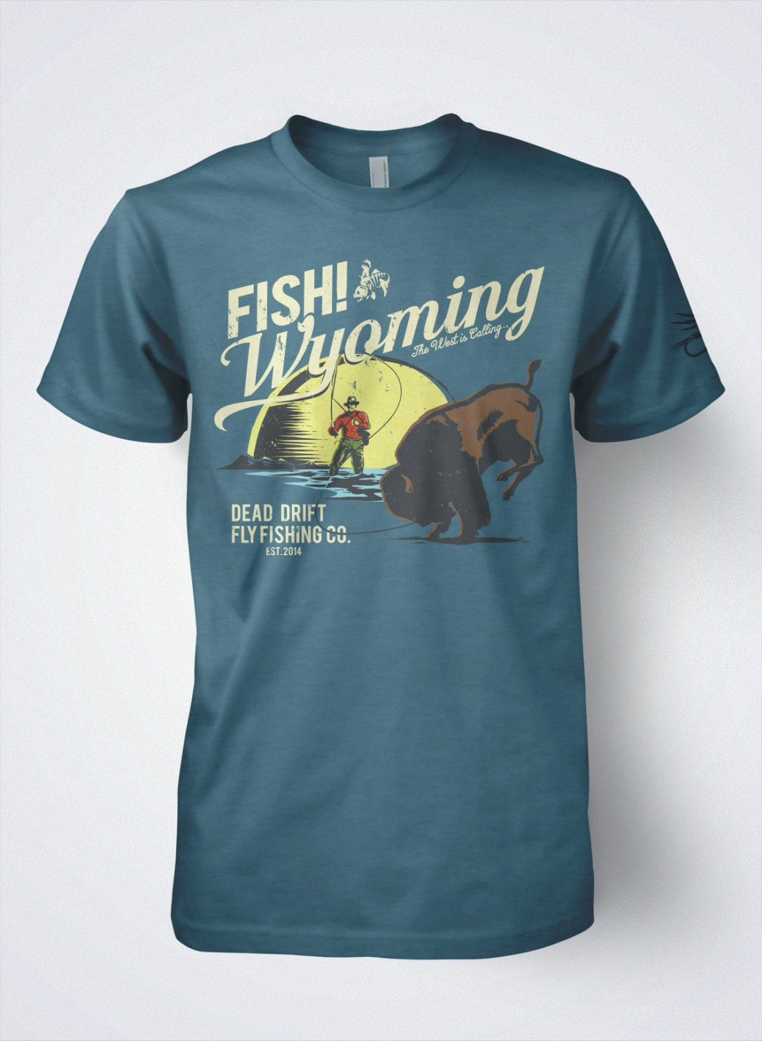 Fly fishing t shirts fish wyoming by dead drift fly fishing Fishing t shirts