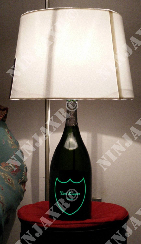 champagner dom perignon flasche lampe hell label magnum. Black Bedroom Furniture Sets. Home Design Ideas