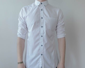 S Crisp White Tailored Formal Button Up Long Sleeve Shirt