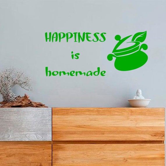 Happiness Is Homemade Home Decor Print Kitchen Quote: Wall Decals Phrase Quote Happiness Is Homemade By