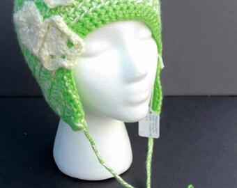 Adult S/M Crocheted Earflap Hat