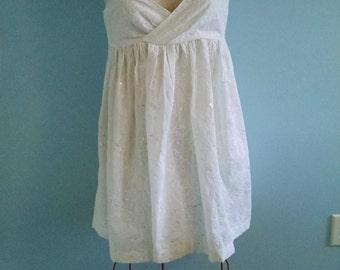 White Boho Dress, Babydoll Dress, Embroidered, Cotton, Summer Wedding, Empire Waist, peasant, mori