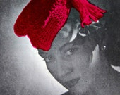 Crochet Hat Pattern - 1940s Fascinator Tassel Hat - Updated Vintage Pattern 2 - Retro Steampunk Hat DIY