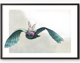 Owl Rabbit Art Print - bunny birds owls moon  - illustration - A4 / A3 / A5 / 8 x 10  Fine Art Giclee Print