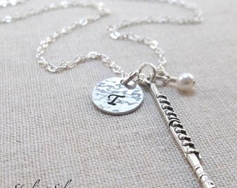 Monogrammed Initial Flute Charm Necklace, Personalized With Initial And Birthstone, Sterling Silver Flute Jewelry, Flute Player Gift
