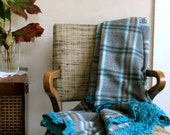 Sale! Plaid Wool Throw in Aqua/Teal Blue & Grey w/ Crocheted Edge